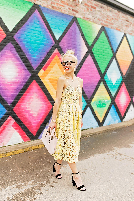 yellow-spaghetti-strap-lace-dress