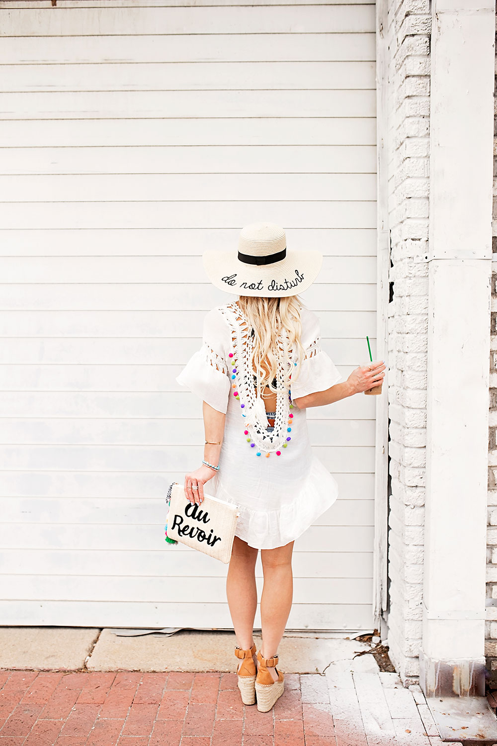 colorful-pom-white-crochet-swim-coverup-outfit