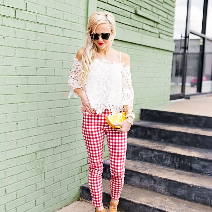 white-lace-top-and-red-and-white-gingham-pants-outfit