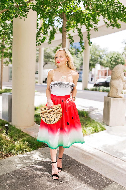 watermelon print skirt