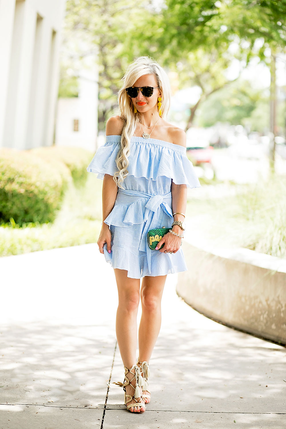 off shoulder ruffle dress