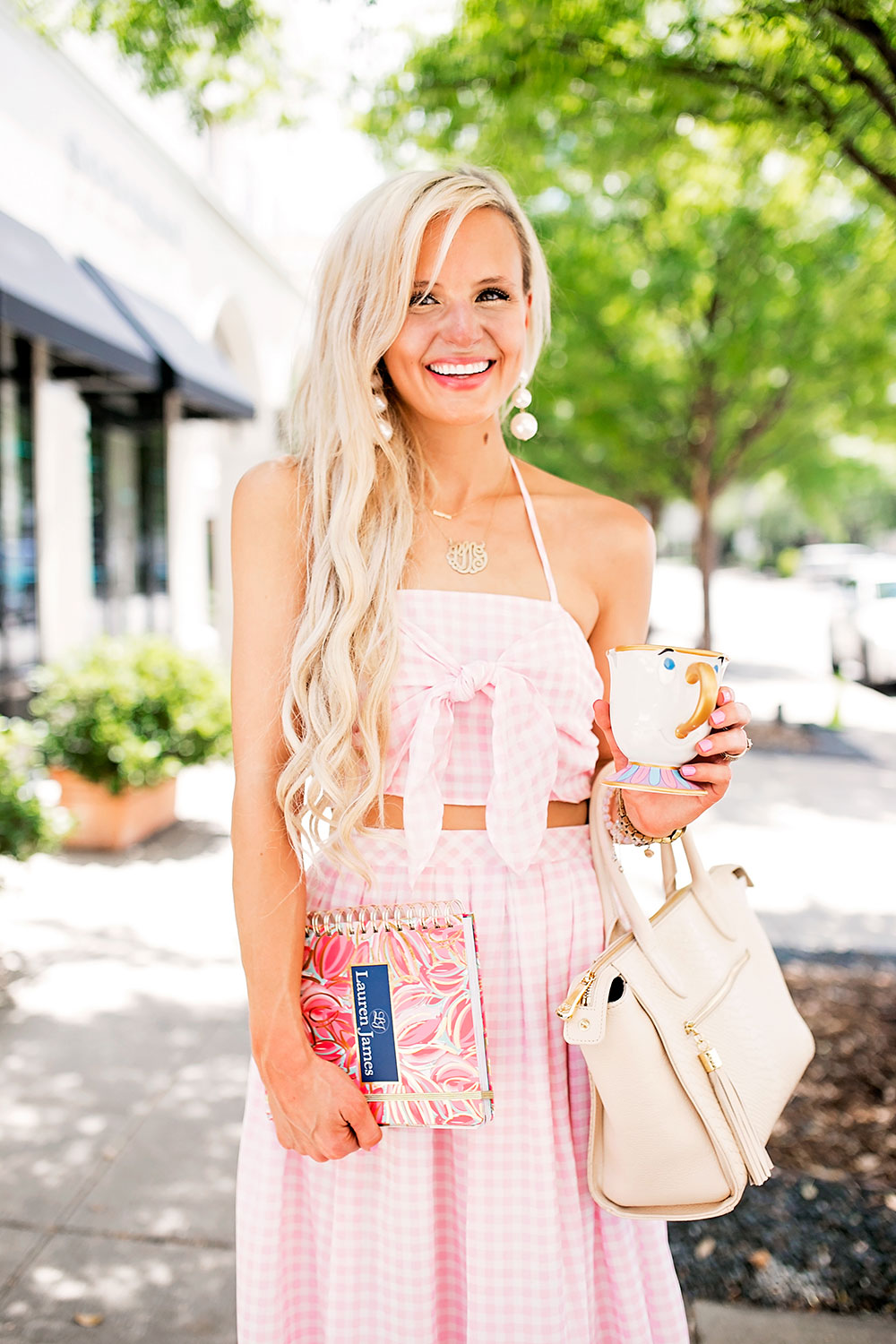 pink gingham crop top skirt set