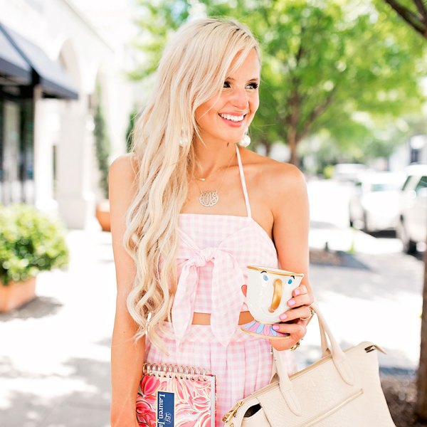 pink gingham crop top