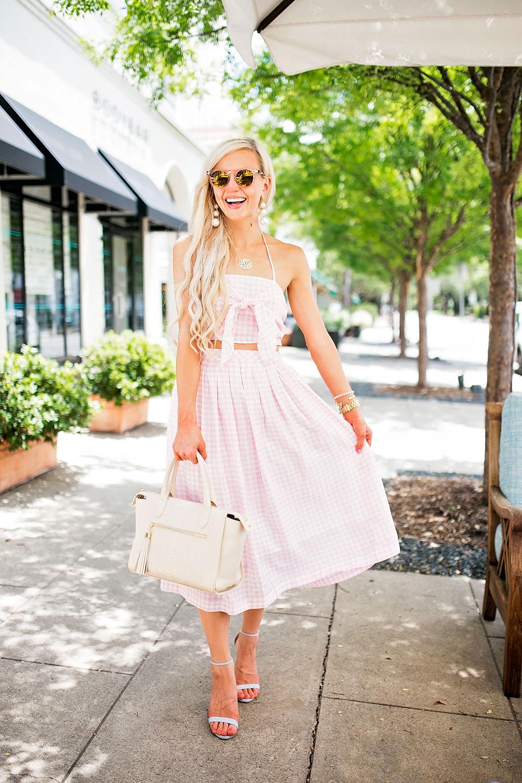 pink gingham skirt