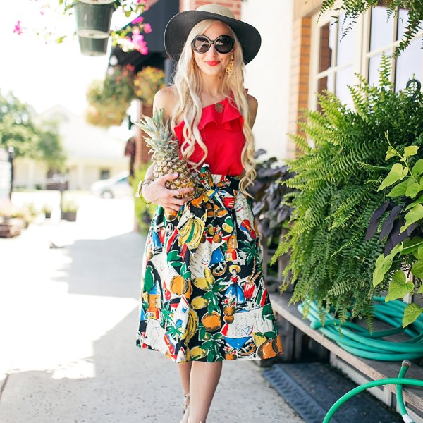 tropical a line printed skirt