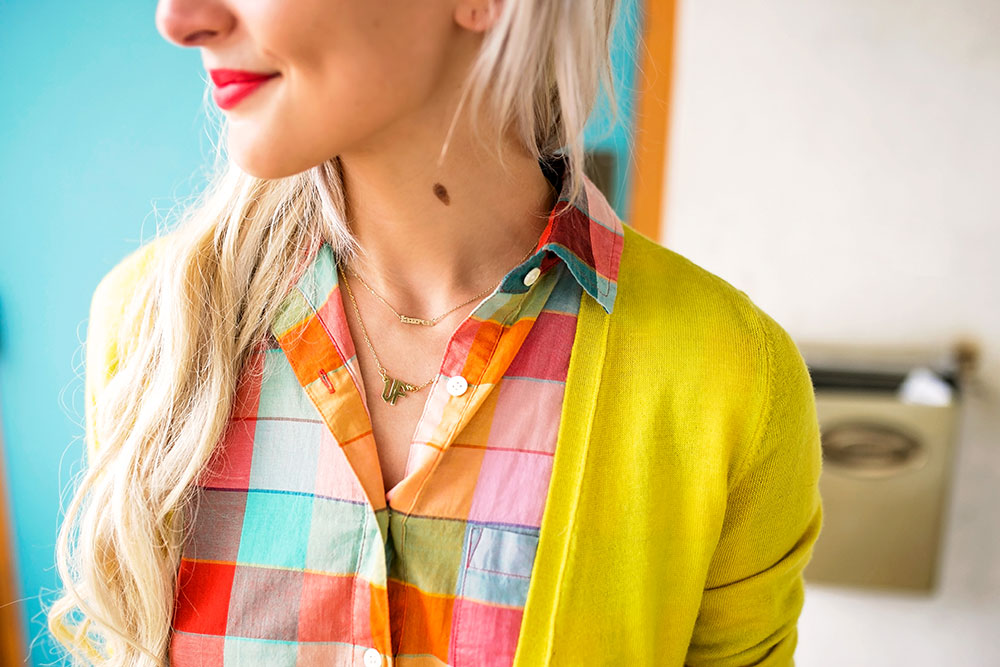 colorful womens plaid button up