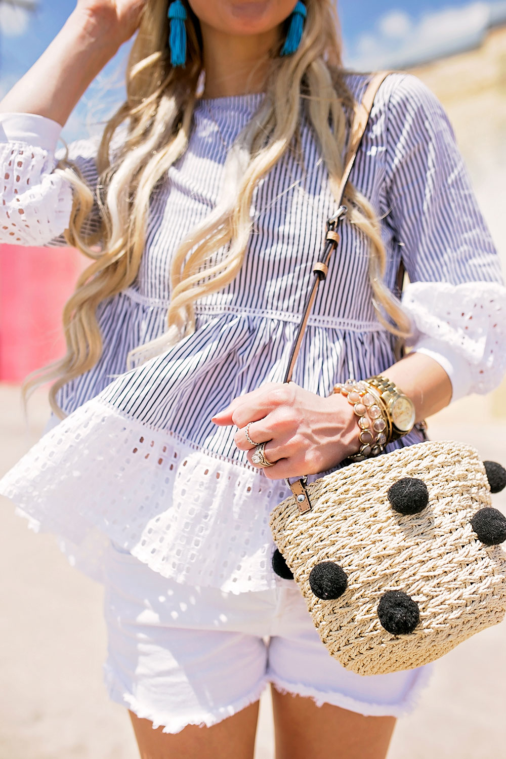 pom straw bucket bag