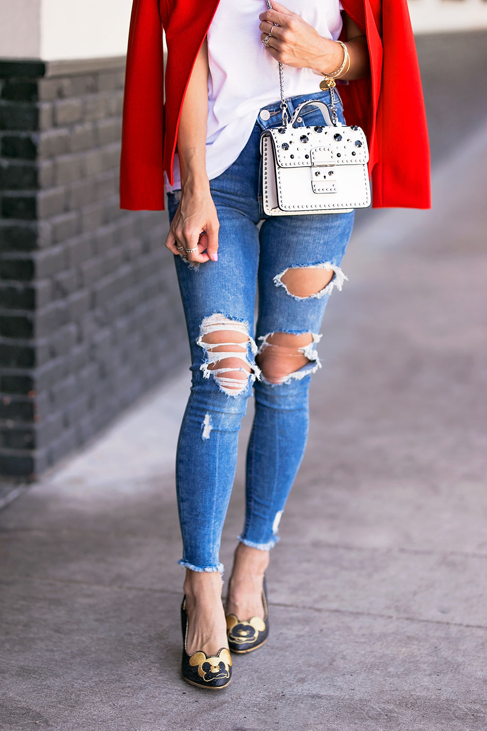 red blazer with jeans