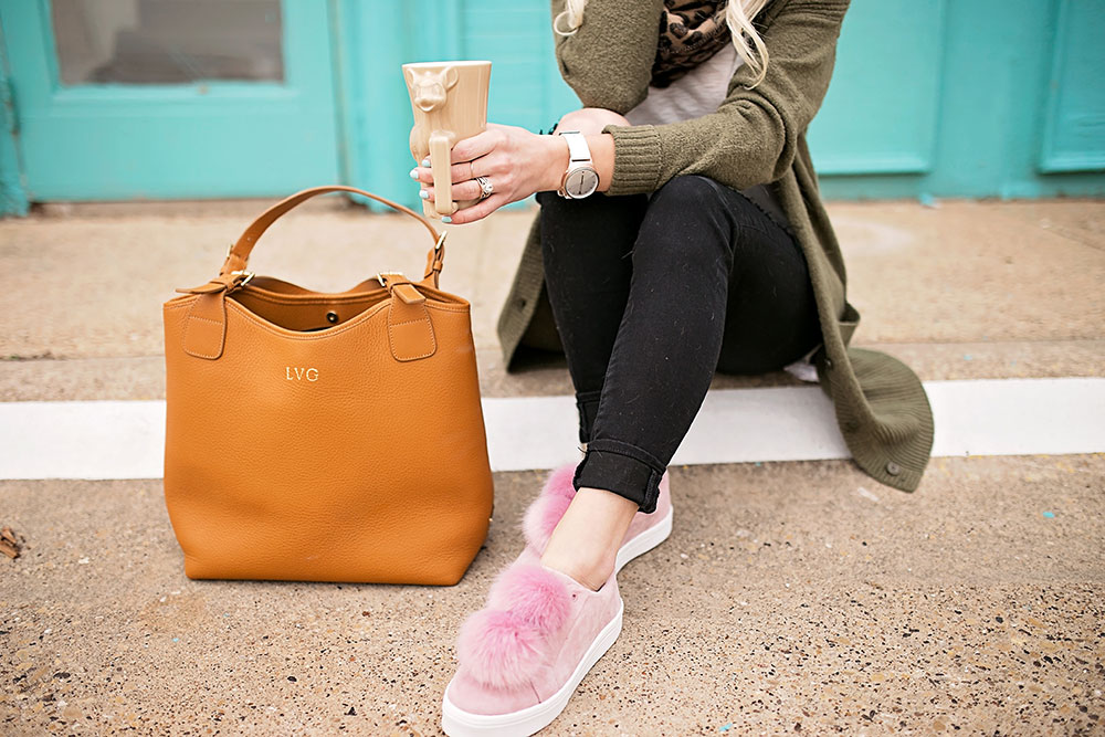 pink pom sneakers
