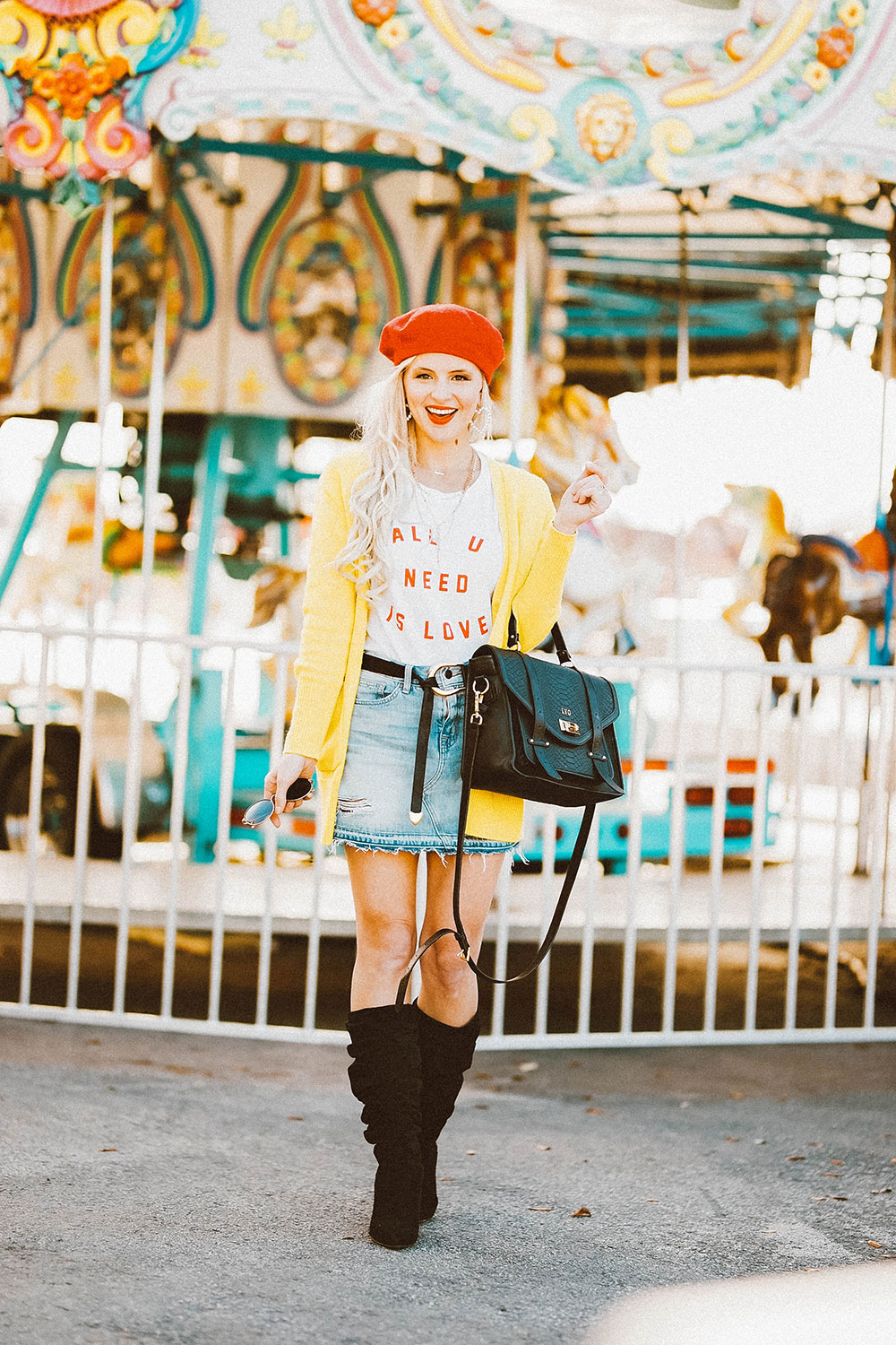 denim skirt and boots