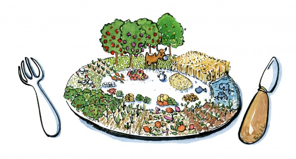tallerken med lokal dyrket mad