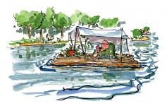 man-floading-on-river-time