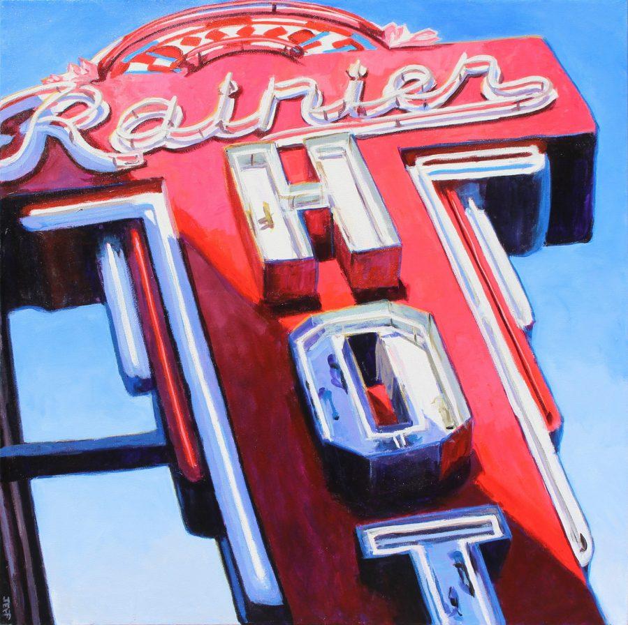 Rainier, Acrylic painting, 36x36 inches, Jeff Wilson, 2020