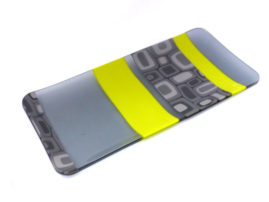 Violet Finvers glass platters (grey and yellow with square pattern)