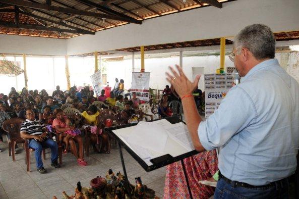 Prefeito Zé Martins falando da importância da III Semana do Bebê Quilombola em Bequimão