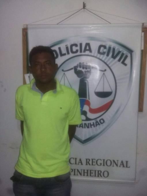 """Dielison de Jesus Penha Pereira, vulgo """"Pó """", é suspeito de vários roubos de moto na cidade de Pinheiro, e participação no assalto aos Correios da cidade de Peri Mirim."""