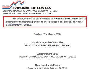 TCE reprova transparência da gestão Luciano Genésio em Pinheiro