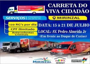 Carreta do Viva Cidadão oferece atendimento a população de Mirinzal