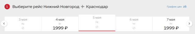 Мини-распродажа для Нижнего Новгорода от Nordwind