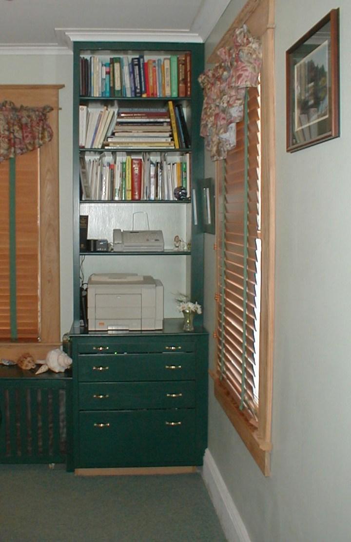 custom bookcase, radiator, and storage