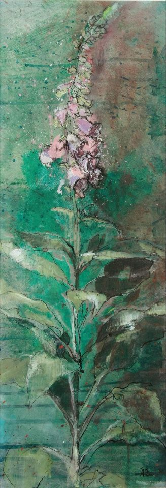 Aine Divine - foxglove painting in mixed media