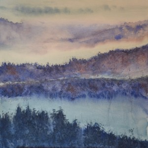 Greeting Cards - Rhine Trees in the Mist