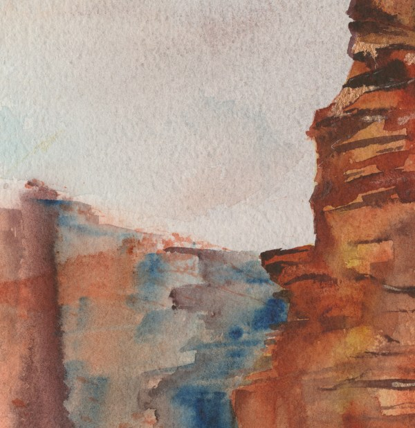 The Edge by Vandy Massey. 76 x 58 cm. Watercolour on hand made Two Rivers Paper. Detail 1