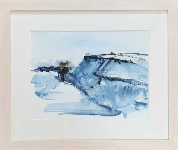 Tregardock Blue by Vandy Massey. 33 x 43 cm. Mixed media on paper. Framed