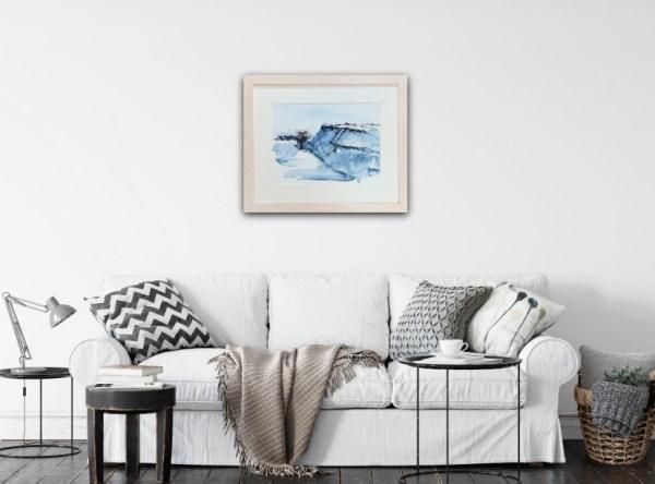 Tregardock Blue by Vandy Massey. 33 x 43 cm. Mixed media on paper. In Room