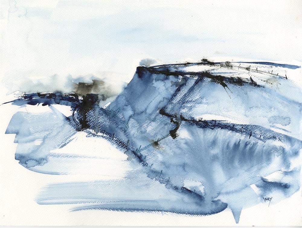 Tregardock Blue by Vandy Massey. 33 x 43 cm. Mixed media on paper