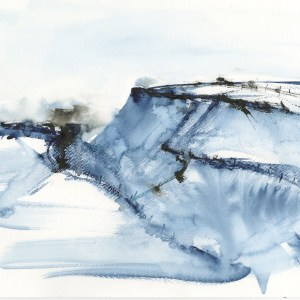 Tregardock Blue by Vandy Massey. 33 x 43 cm. Mixed media on paper