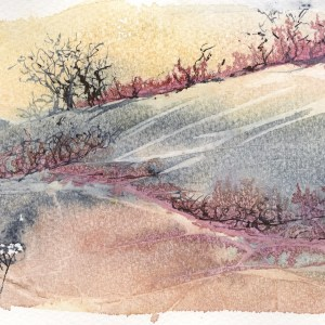 Watch the Woods Fill Up with Snow by Vandy Massey. Watercolour painting. 20 x 15 cm