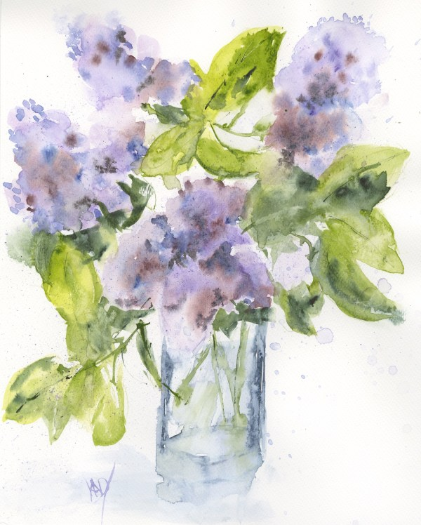 VMW00160 - Lilacs from the Garden. Watercolour on paper by Vandy Massey