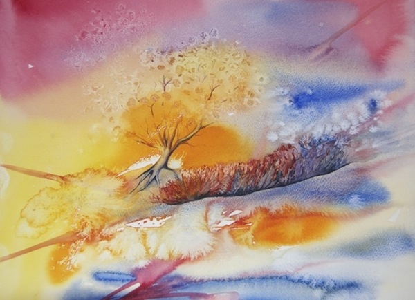 Painting Autumn - treescape copyright Vandy Massey