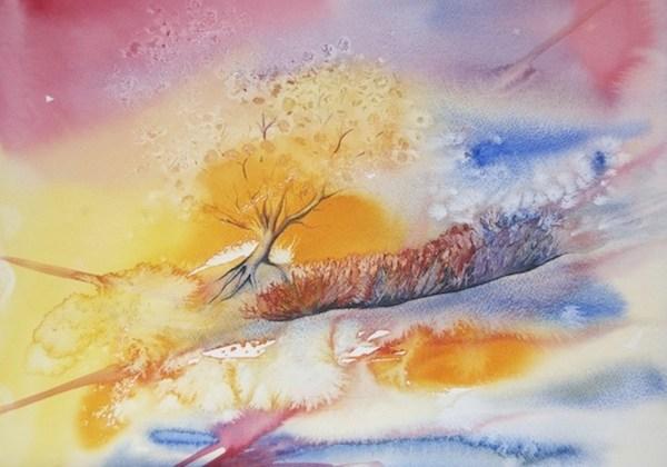Painting Autumn - treescape copyright Vandy Massey