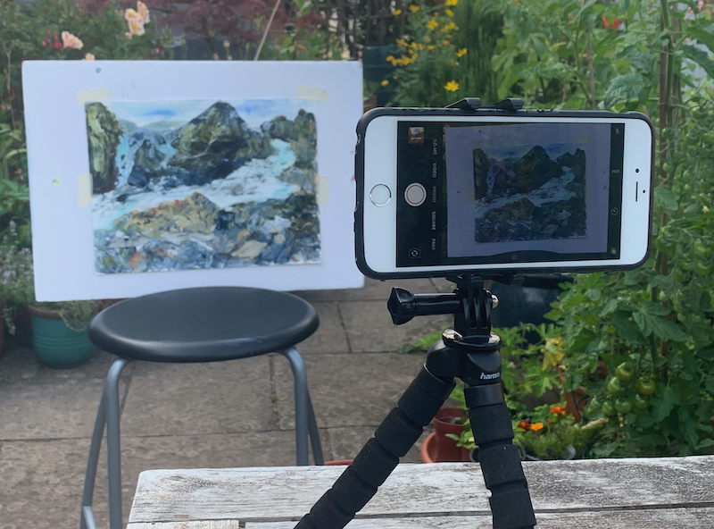Outdoor setup for photographing your paintings with a phone