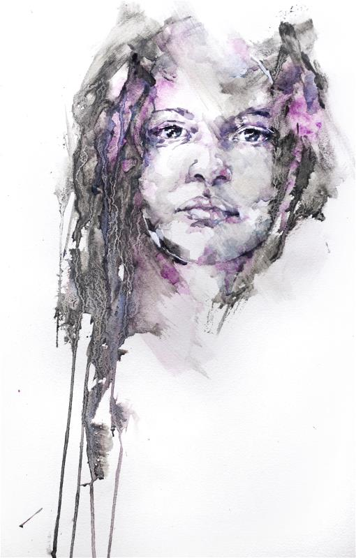 Purple Haze - Watercolour and liquid charcoal by Stephie Butler