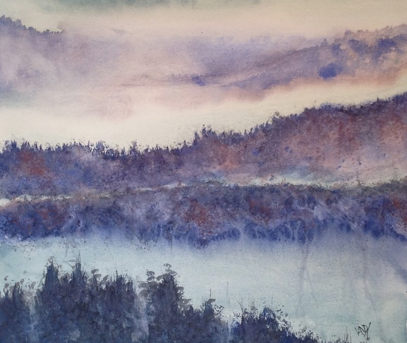 Rhine Trees in the Mist - granulation medium in watercolour
