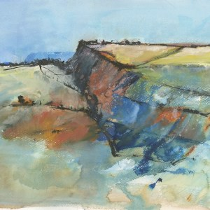 Tregardock Cliffs - mixed media painting. Art societies provide exhibition opportunities. Experimental Landscapes in Mixed Media workshops are tutored by Vandy Massey