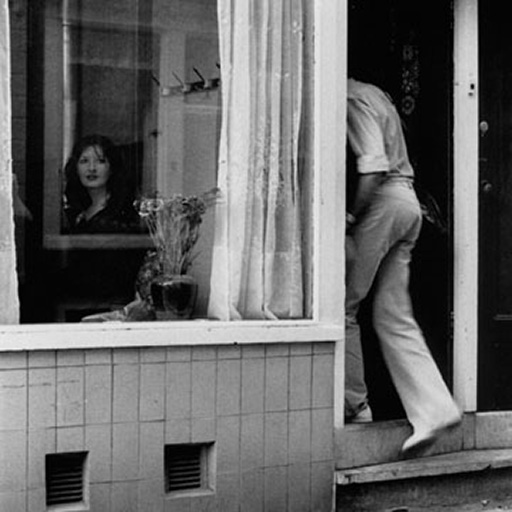Role Exchange Challenge: black and white photo of Marina Abramovic in a window in the Amsterdam Red Light District on 2 July 1975