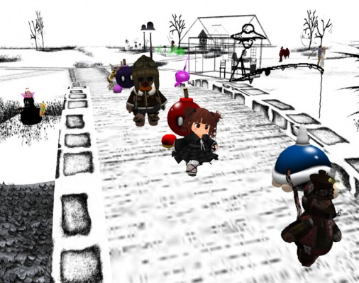 """Tiny Avatars march across Cica Ghost's """"Black and White World"""" at LEA13"""