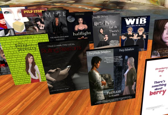 rows of movie posters standing in a virtual art gallery