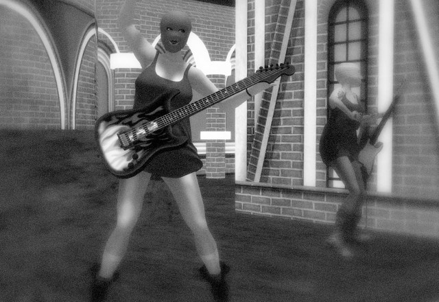 Avatars in balaclavas playing electric guitars at Virtual Red Square