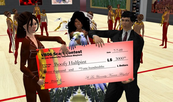 """Vanessa Blaylock and St. Leo Lions Zimmer present Scarf Design Competition winner Boofy Halfpint with a """"big check"""" for L$3,000"""