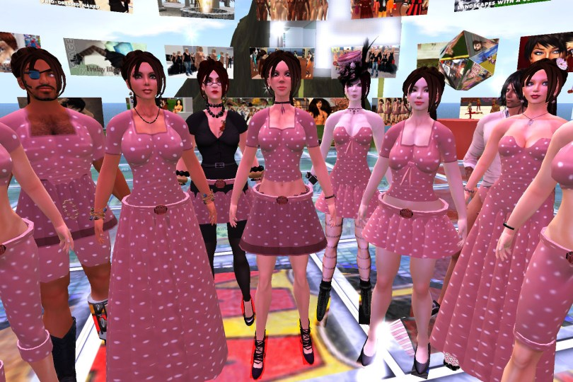 "A large group of avatars stand in a circle. They all wear variously modified versions of the iconic Second Life ""Girl Next Door"" noob avatar dress."