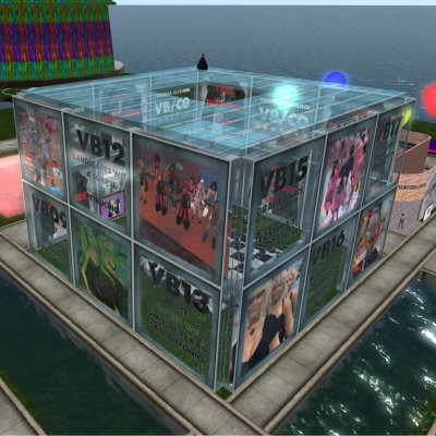 aerial photo of the VBCO pavilion at the Second Life 7th Birthday Celebration