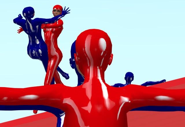 "Avatars in blue vs red unitards in dramatic ""Robert Longo"" like poses."