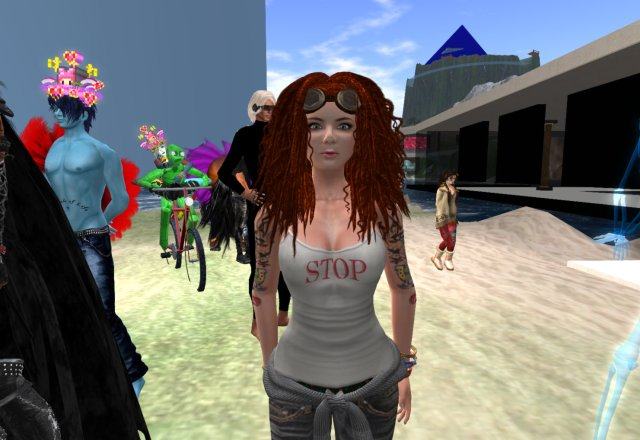 Agnes Sharple stands on the campus of virtual Long Island University as the crowd for VB42 Avatar Pride Parade gathers