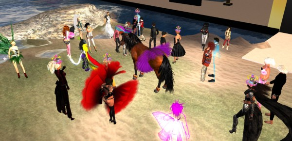 A crowd of avatars gathers at the step-off point at Long Island University for the start of VB42, Avatar Pride Parade