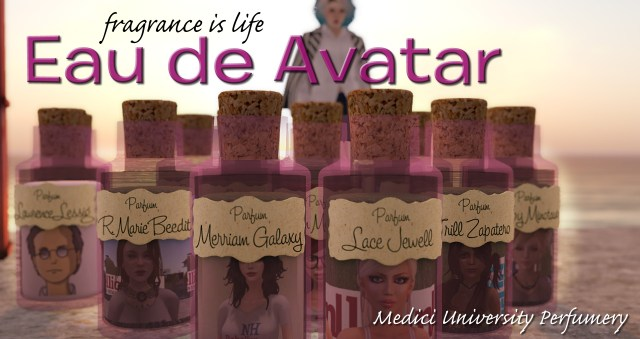 billboard advertisement for Eau de Avatar, the new fragrance from the Medici University Parfumery